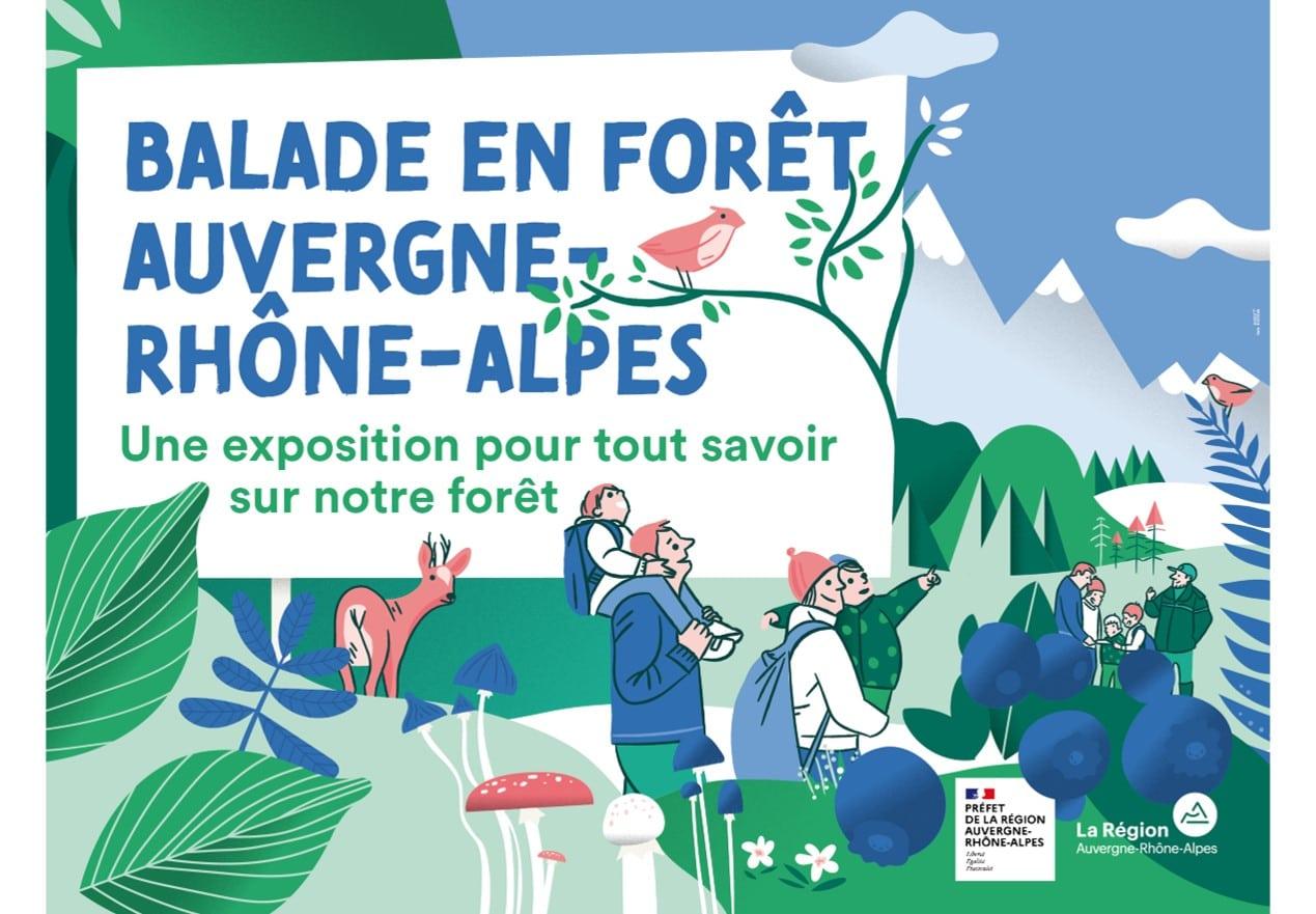 """Visuel de l'exposition itinérante """"Balade en forêt Auvergne-Rhône-Alpes"""""""