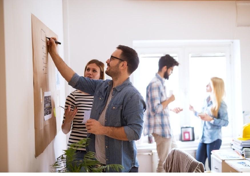 Brainstorming autour d'un tableau de papier