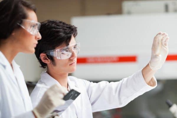 Scientifiques dans un laboratoire en train d'observer le contenu d'un tube à essais.